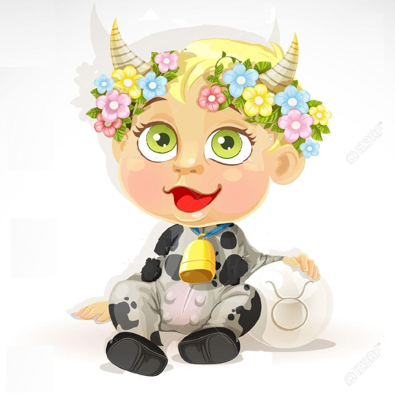 Baby-zodiac-sign-Taurus-Stock-Vector
